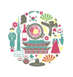 Korean colorful poster of traditional things in vector