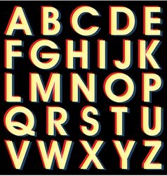 Light alphabet on black background vector