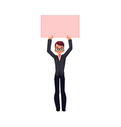 Office worker with empty pink banner vector