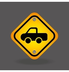 Pick up truck yellow road street sign vector