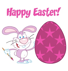 Purple Happy Easter Bunny vector image