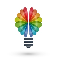 Rainbow brain and light bulb icon logo design vector image vector image