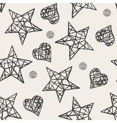 Seamless stars and hearts pattern vector image