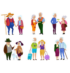 Senior man and woman activities grandparents day vector