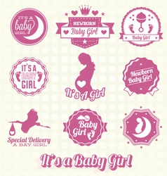 Set retro its a girl labels and icons vector