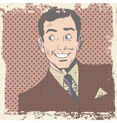 Smiling man lover flirts pop art comics retro vector