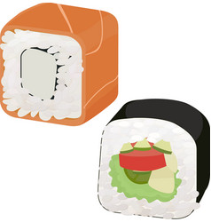 sushi with fish and vegetables vector image vector image