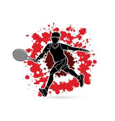 tennis player running man play tennis movement vector image vector image