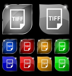 TIFF Icon sign Set of ten colorful buttons with vector image vector image