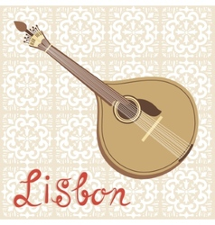 Tipical portuguese fado guitar over azulejo tiles vector