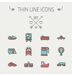 Transportation thin line icon set vector