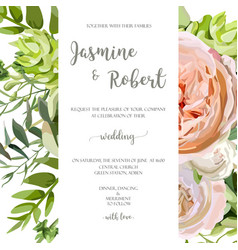 wedding invitation floral invite card with pink vector image vector image