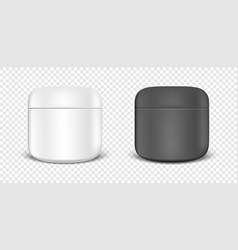 White and black cream jar icon set design vector