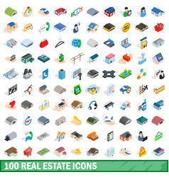 100 real estate icons set isometric 3d style vector