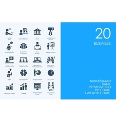 Set of blue hamster library business icons vector