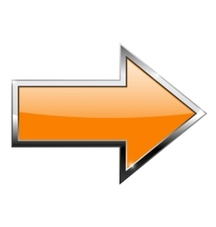 Orange arrow with chrome frame Right vector image