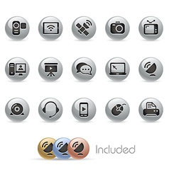 Communication icons metalround series vector