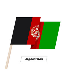 afghanistan ribbon waving flag isolated on white vector image