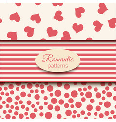 3 romantic seamless patterns pink and vector