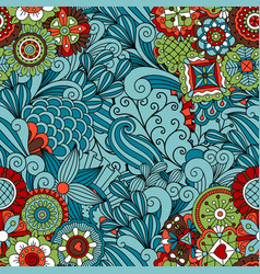 Blue ornamental floral pattern design vector
