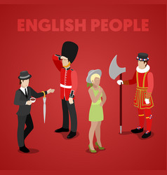 English people with guardsman isometric vector