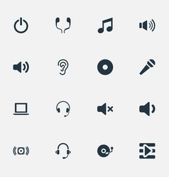 Set of simple music icons elements listen sound vector