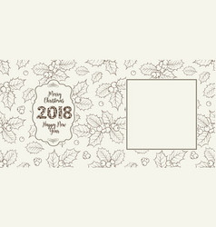 new year card with mistletoe flowers vector image