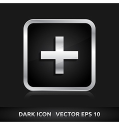 Plus add icon silver metal vector