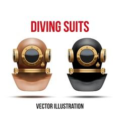 Set of underwater diving suit helmet vector