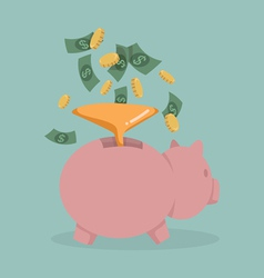 Money into a pink piggy bank vector