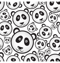 Black and white panda bear head seamless pattern vector