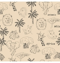 Seamless pattern with wild animals of africa vector