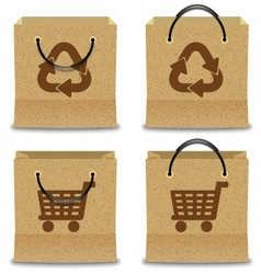 Brown paper shopping bag set vector