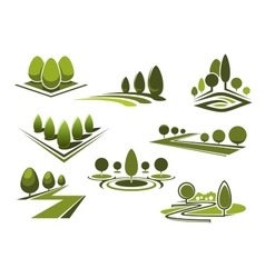 Parks and gaden icons with green trees vector