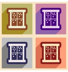 Set of flat icons with long shadow outside the vector image