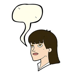 Cartoon serious woman with speech bubble vector