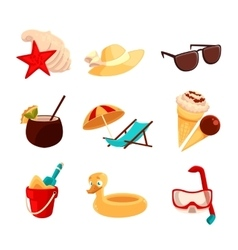 Set beach vacation objects vector