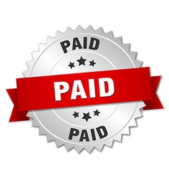 Paid 3d silver badge with red ribbon vector