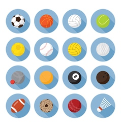 Sports Equipment Ball Flat Icons Set vector image