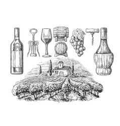 Wine set bottle glass corkscrew barrel vector