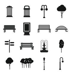 Park icons set simple ctyle vector image