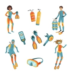 People scuba diving and freediving gear vector