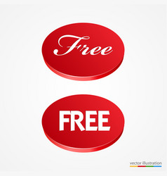 big red free button vector image vector image