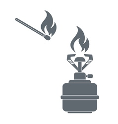 Camping burner and matches icon vector