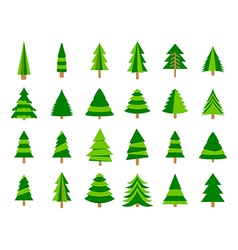 Christmas trees in a flat style firs isolation vector