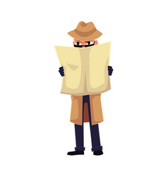 Comic style detective character spying on somebody vector