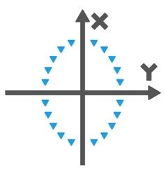 Dotted ellipse plot flat symbol vector