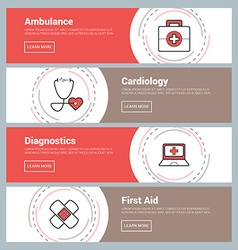 Flat Design Concept Set of Web Banners Ambulance vector image