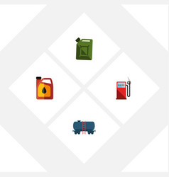 Flat icon oil set of petrol container fuel vector