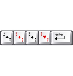 Four aces poker hand card symbols on computer keyb vector
